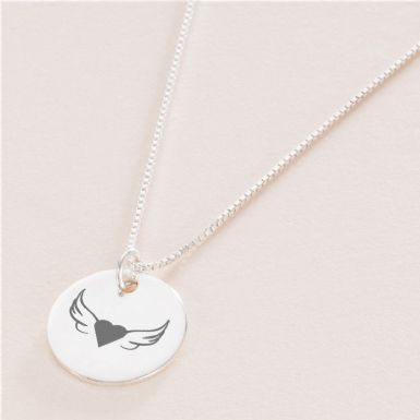 Silver Memorial Necklace with Angel Wings | Someone Remembered